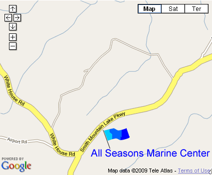 Map to All Seasons Marine Service at Smith Mountain Lake Virginia.  Mercury, Volvo, stern drive, alpha, bravo, sx.